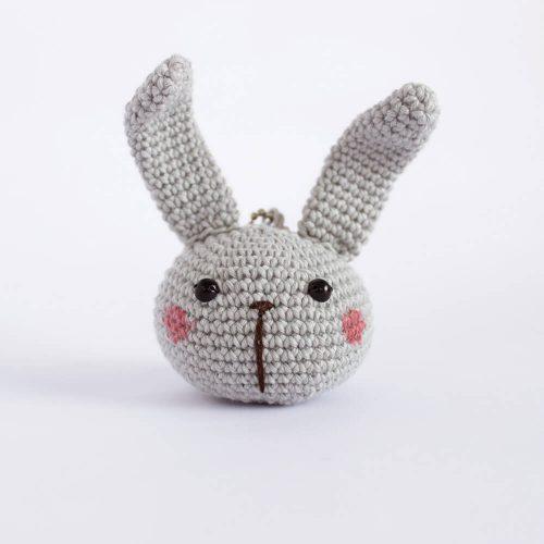 little bunny head grey keychain