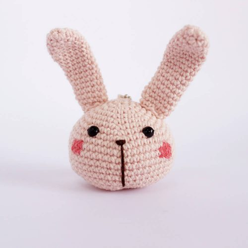 little bunny head pink keychain