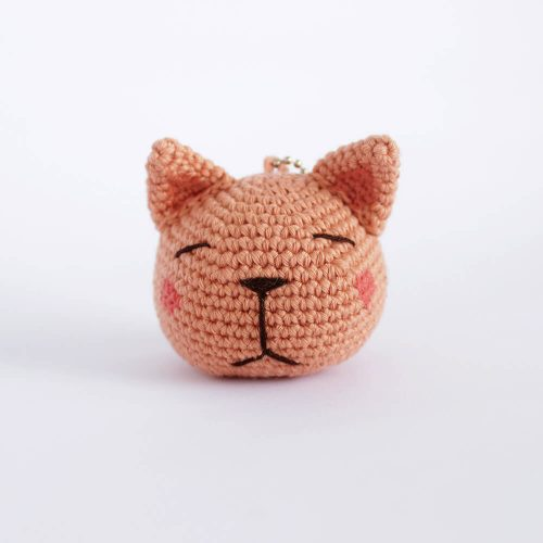 little cat head keychain