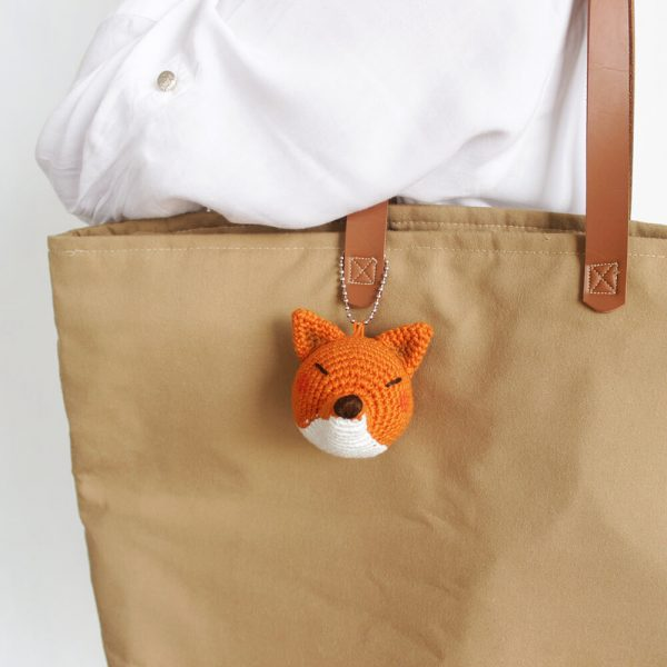 little fox head keychain bag